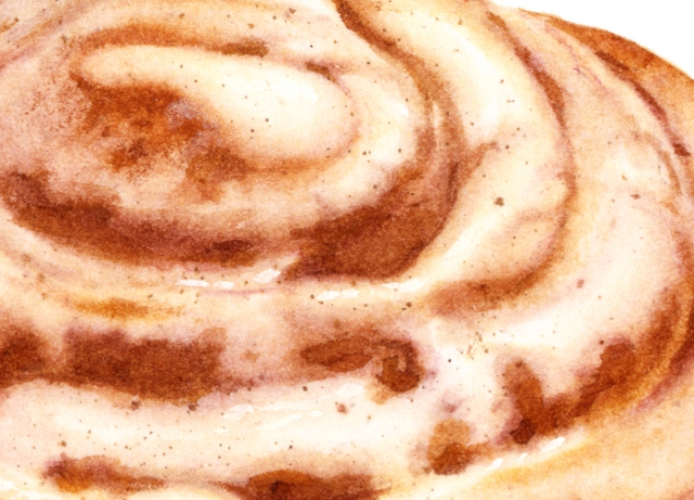 A close up of the cinnamon roll texture.